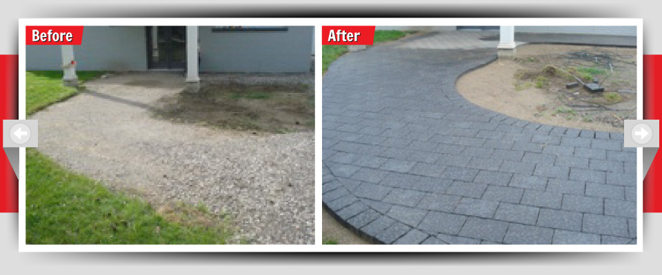Before and After Example #5 - Interlocking Stone Sidewalks